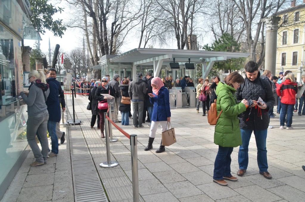 The queue into Hagia Sophia